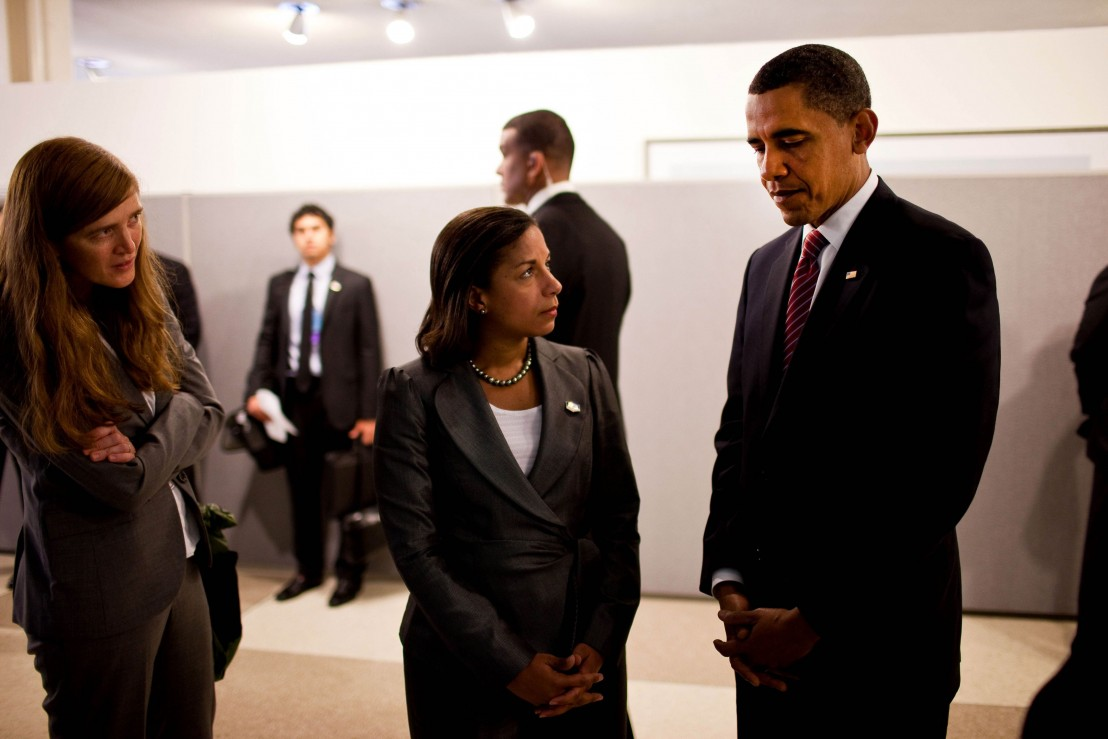 Handout photo showing U.S. President Obama standing with Rice and Power in New York