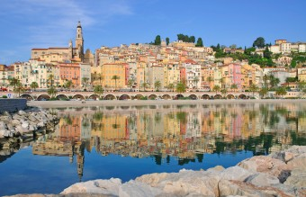 The colorful houses of Menton on the French Riviera