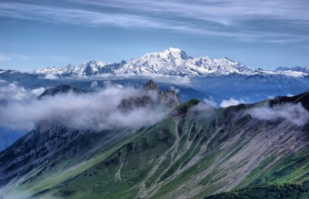 The snowy peaks of Mont Blanc