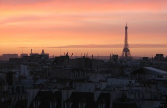 The sunset over the rooftops of Paris