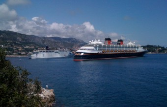 A Disney cruise ship blocks the view of Villefranche-sur-Mer