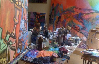Artist Jeff Hessing's studio on the port of Nice