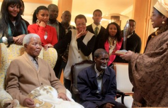 Nelson Mandela Receives The ANC Centenary Torch