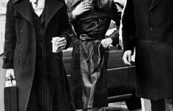 David Bowie at the courthouse in Rochester, New York to answer a charge of criminal possession of illegal drugs in the fifth degree, 1976