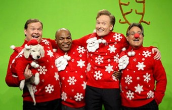 6-conan-obrien-max-weinberg-andy-richter-mike-tyson-celebrities-in-christmas-sweaters