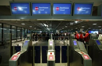 Security gates are closed during a strike in Frankfurt airport