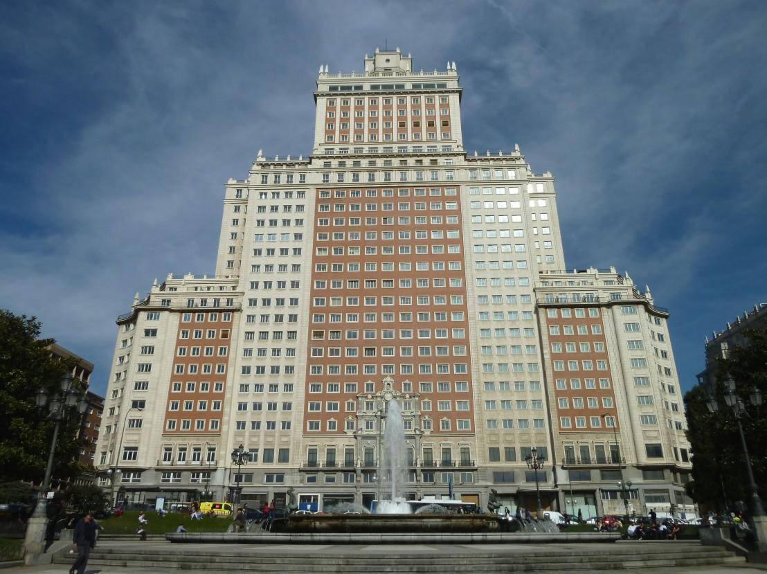 South-west facade of 'Edificio España' in Madrid (Spain). Built in 1953.