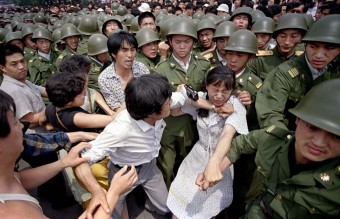 June 3, 1989 - A Woman Caught Between the Military and the Protesters