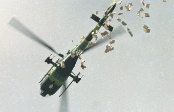 May 22, 1989 - Military Helicopter Dropping Leaflets Urging People to Leave the Square (Reuters)