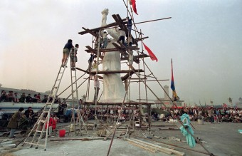 May 30, 1989 - Beijing University Students Putting the Finishing Touches on the Goddess of Democracy (AP)