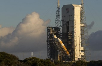 A view of the United Launch Alliance Delta IV Heavy rocket in preparation for the first flight test of NASA's new Orion spacecraft at Cape Canaveral Air Force Station, Florida