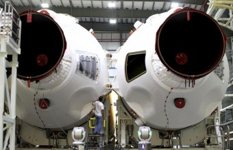 NASA image of rocket boosters for Orion Spacecraft's first flight at Cape Canaveral Air Force Station Florida