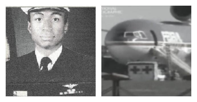Аубърн Калоуей по времето, когато е служил в армията (вляво). Приземилият се самолет веднага след инцидента