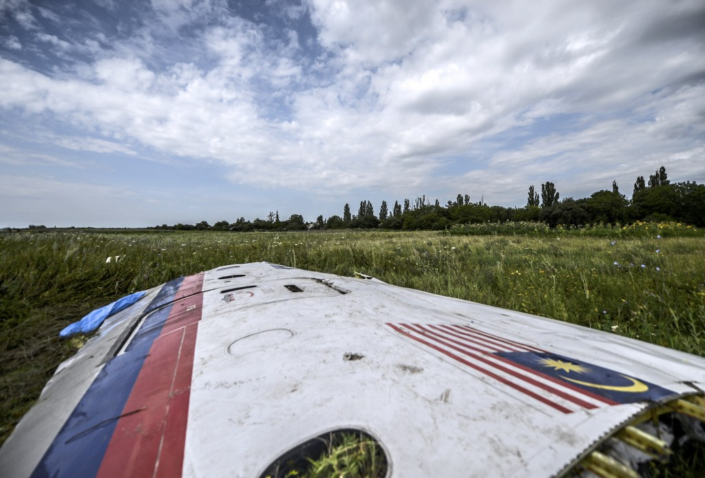 Wreckage at the MH17 crash