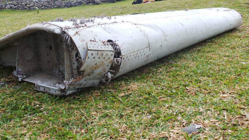 Aircraft wreckage on the French island of Reunion in the Indian Ocean
