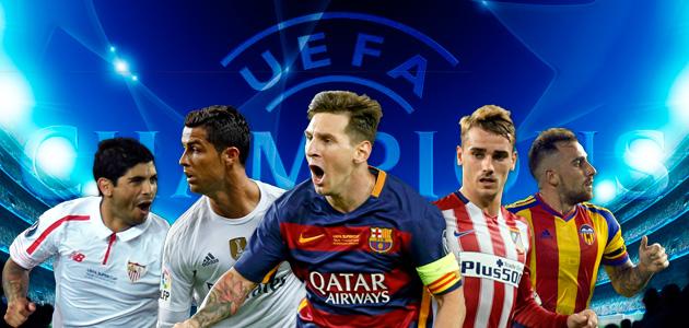 шампионска лига, групова фаза, испански отбори