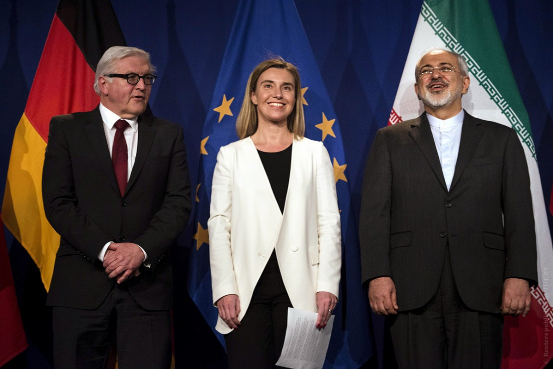 Iranian Foreign Minister Zarif stand with German Foreign Minister Steinmeier and EU High Representative for Foreign Affairs Mogherini following nuclear talks in Lausanne