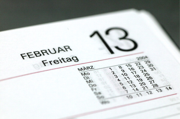 Symbolic picture: Friday the 13th ( bad luck, bad luck day, superstition ), Page of a calendar with Friday the 13th.