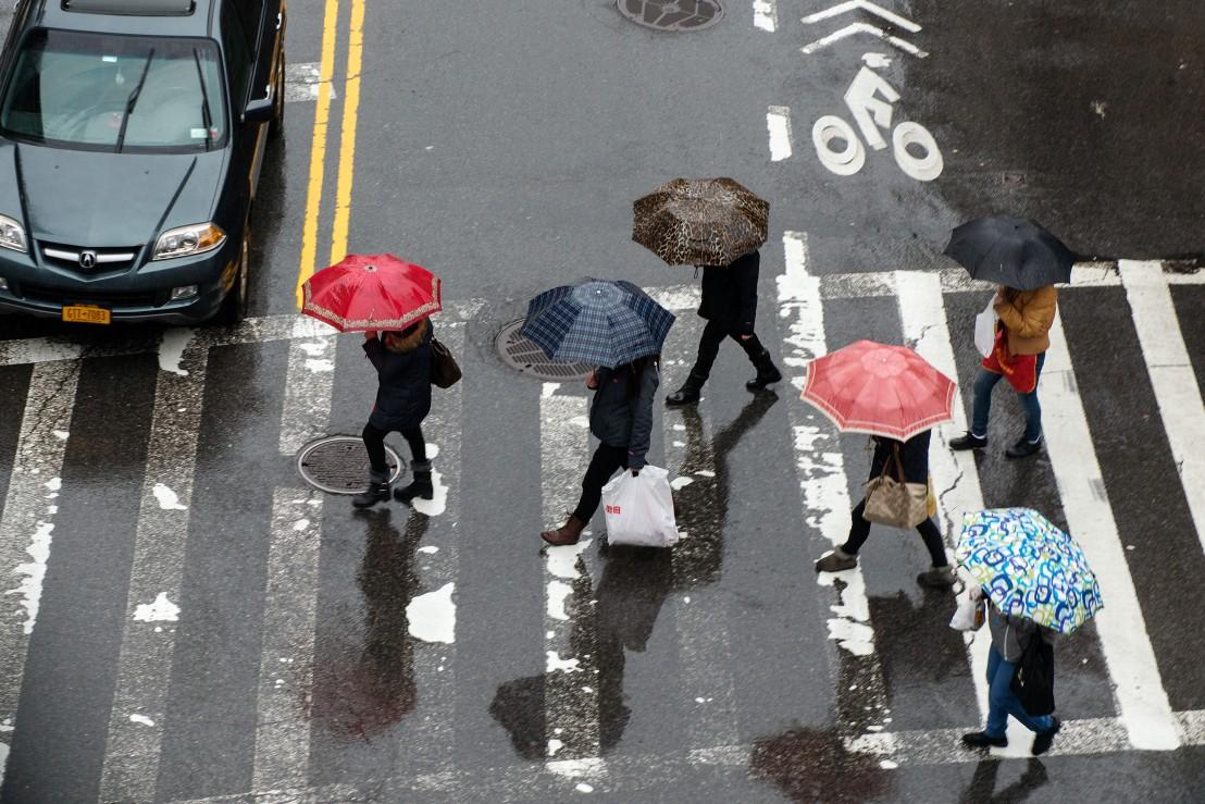 Winter Rain Dampens New York City
