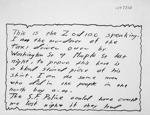 A Letter from the Zodiac Killer