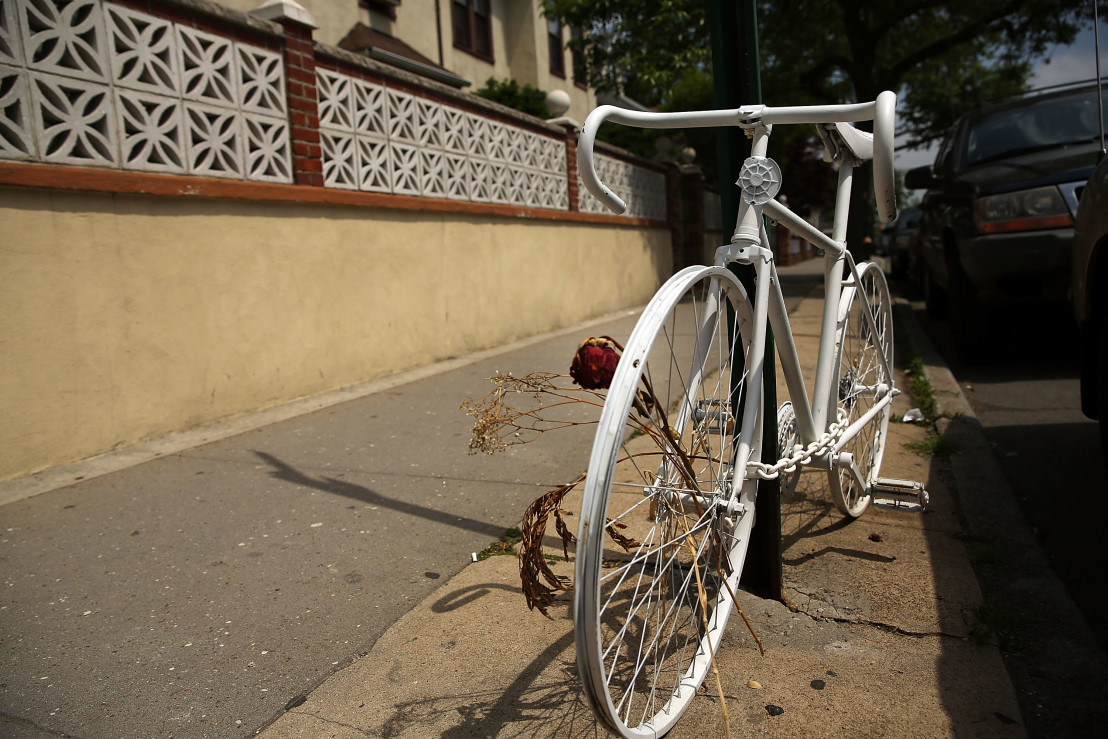 """""""Ghost Bikes"""" Offer Grim Reminder Of Deadly Cyclists' Accidents On New York's Streets"""