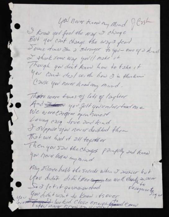 Johnny Cash handwritten poem