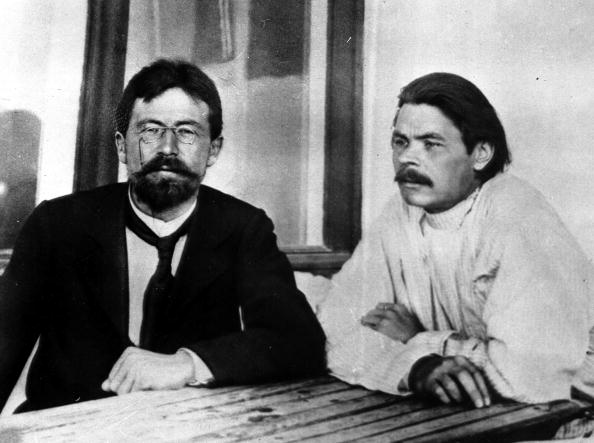 1901, The 90th anniversary of the birth of Russian writer Maxim Gorky (right) pictured with fellow Russian writer Anton Chekov in Yalta, Russia