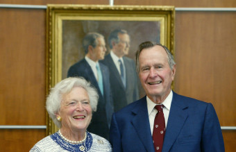 Bush Portrait Unveiled At Presidential Library
