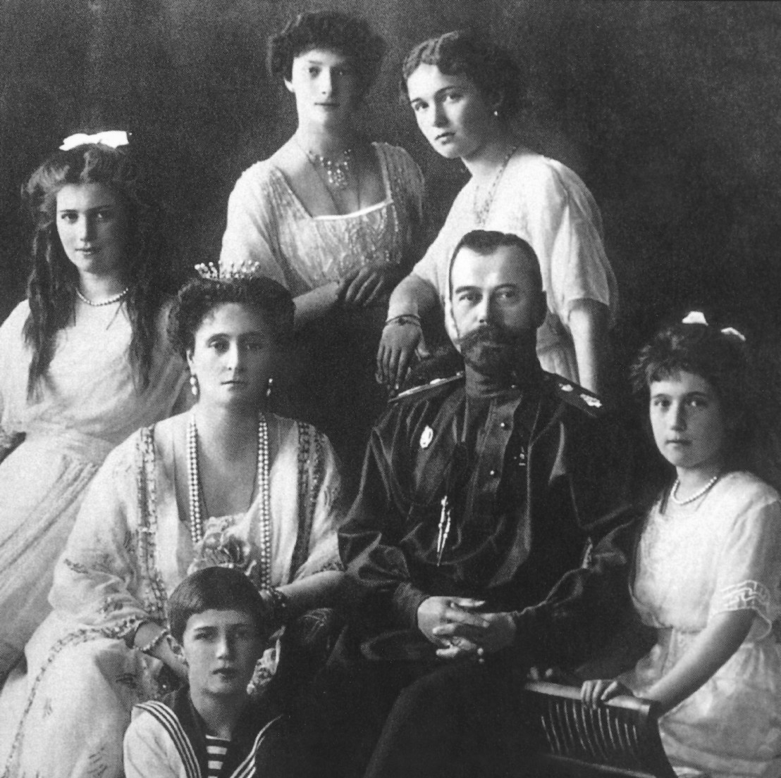 NICHOLAS II (1868-1918). /nCzar of Russia, 1894-1917. Photographed with his family in 1913. Grand Duchesses Maria, Tatiana, Olga, and Anastasia are seated left to right; Tsarevich Alexei is seated in front.