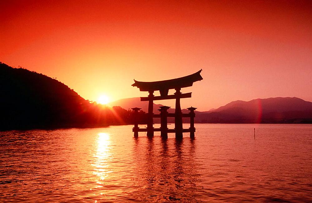 Itsukushima Torii (temple gate) in the sea, Miyajima island, Japan