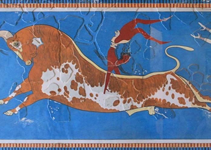 Фреска с минойски бик - разкопки в Крит