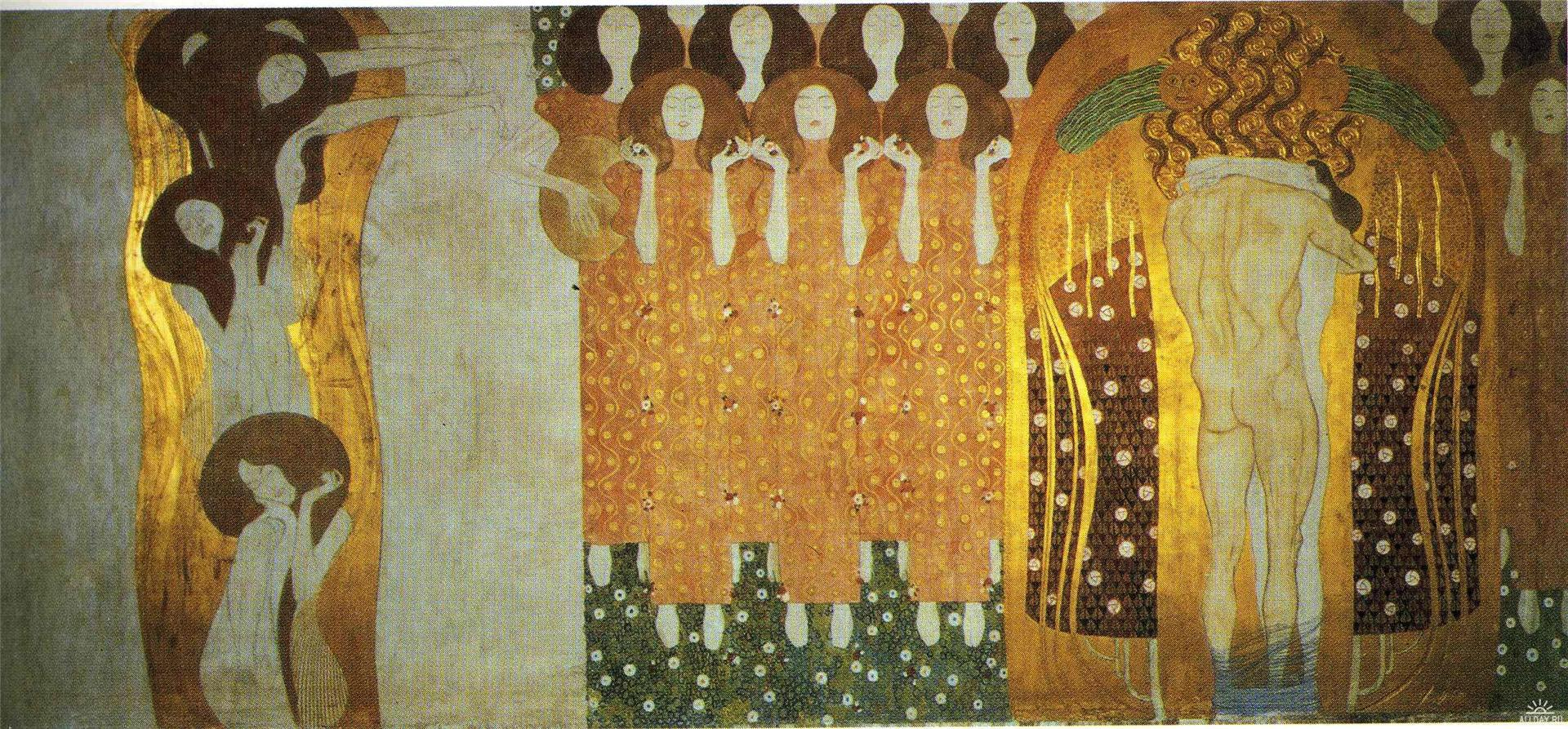 The-Beethoven-Frieze-The-Longing-for-Happiness-Finds-Repose-in-Poetry-Gustav-Klimt-oil-painting