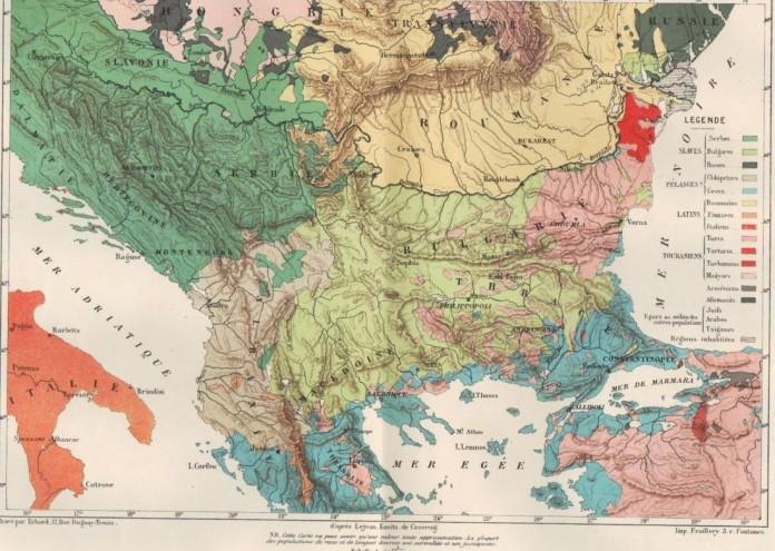 Етническа карта на Балканите от Гийом Лежан, 1861 г
