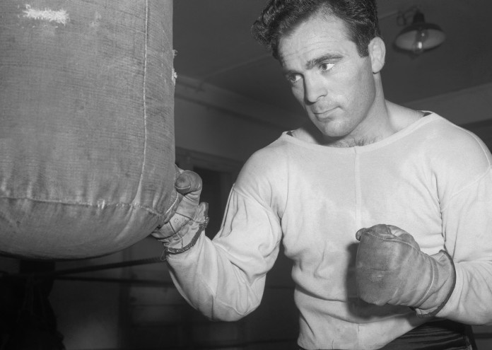 Marcel Cerdan Hitting a Punching Bag