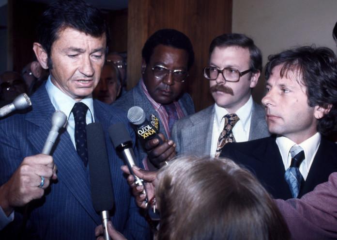 Roman Polanski and his lawyer Douglas Dillon speak to the Press at the Santa Monica Courthouse