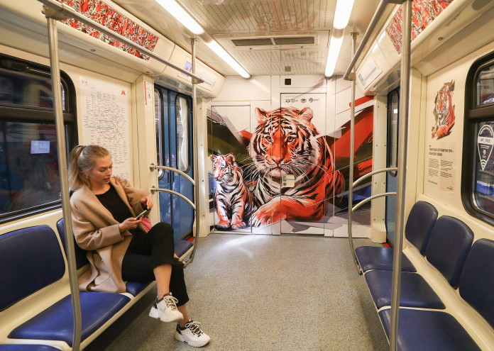 Amur tiger-themed train launched in Moscow Underground