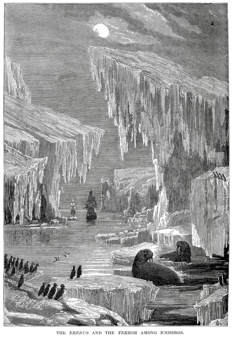 The Erebus and Terror amoung icebergs