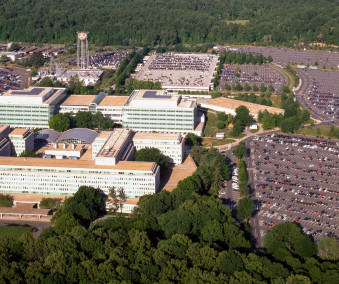 Aerial view of the Central Intelligence Agency headquarters.