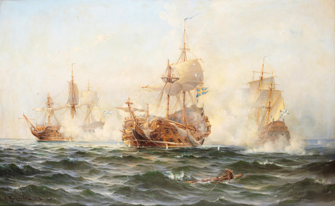 Hms Wachtmeister Fighting Against The Russian Squadron On Juny 4