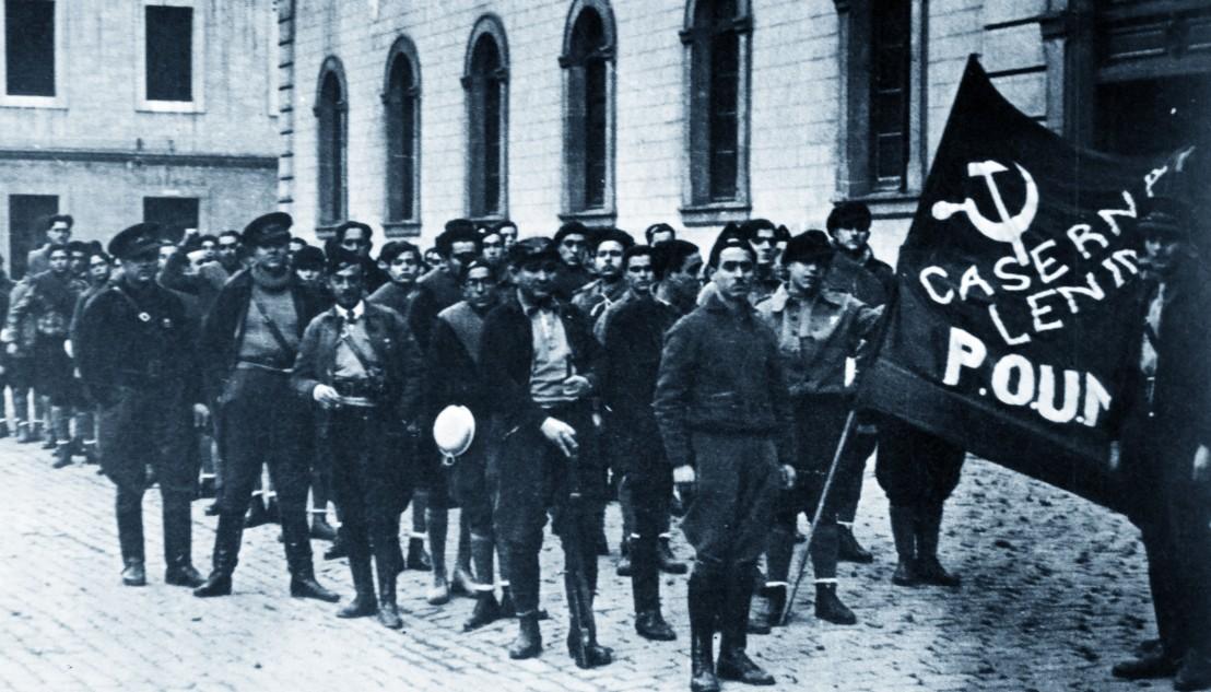 POUM militia guards the Headquarters of the POUM in Barcelona.