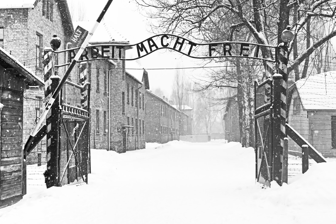 Sing Arbeit macht frei (Work liberates) in Auschwitz II Birkenau
