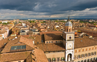 Cityscape of Modena, medieval town situated in Emilia-Romagna