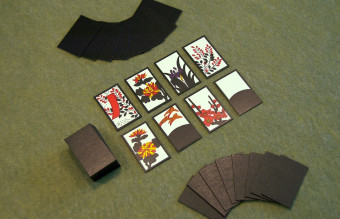 The start of a game of Koi-Koi, just after cards have been dealt.