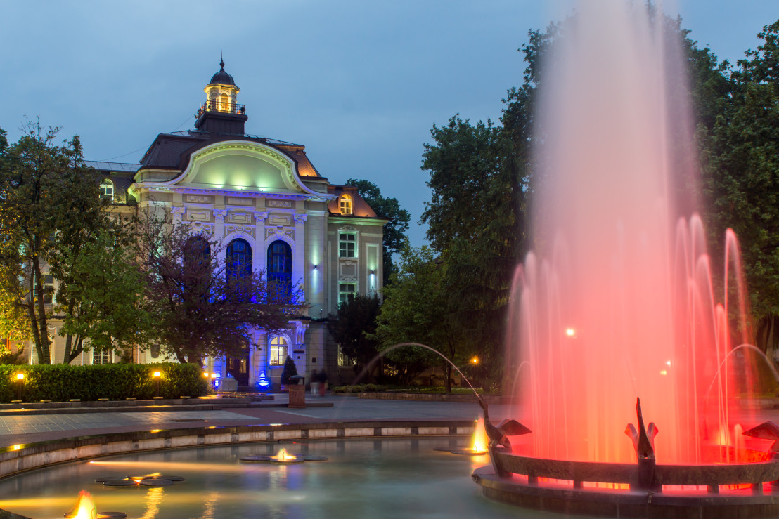 Night photo of City Hall in Plovdiv, Bulgaria
