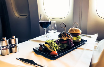 First class air travel luxury meal service