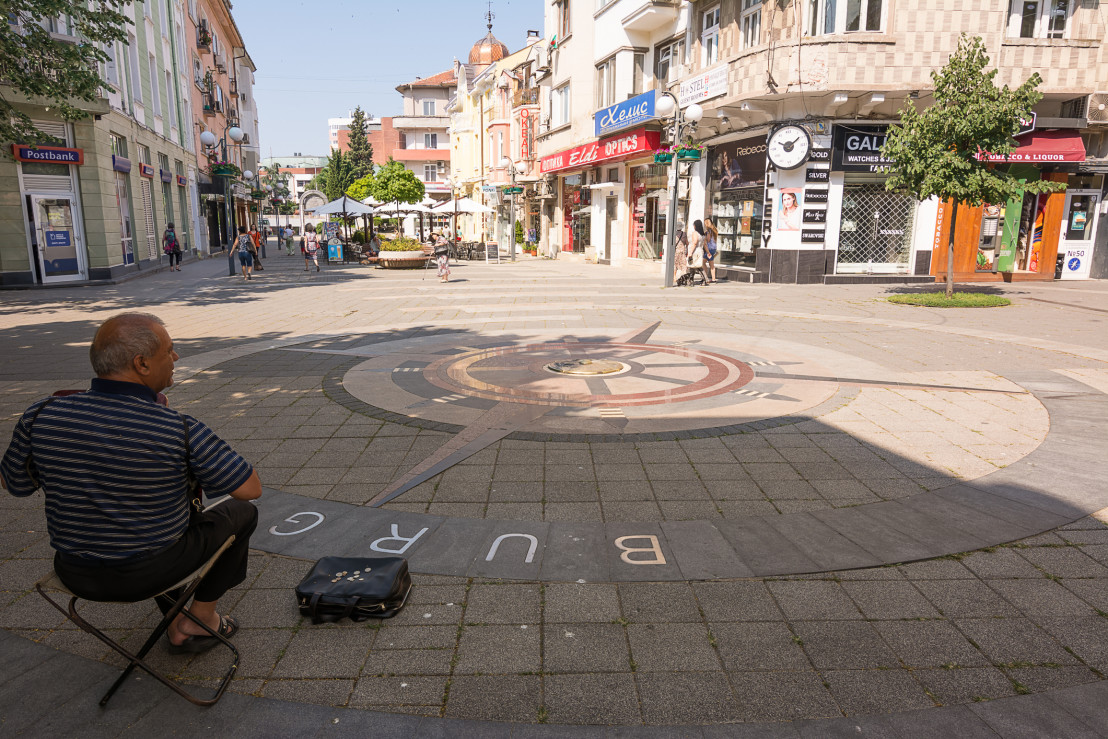 beggar asks the offer in a characteristic place of Burgas, a holiday resort on the Black Sea