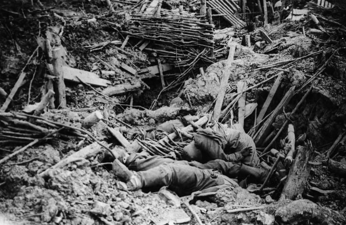 NLS_Haig_-_Smashed_up_German_trench_on_Messines_Ridge_with_dead_(cropped)