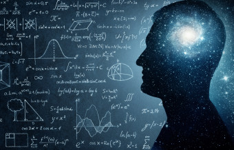 The universe within. Silhouette of a man inside the universe, physical and mathematical formulas..