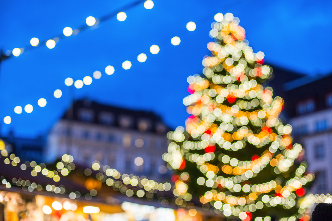 Christmas market on a fair defocused background