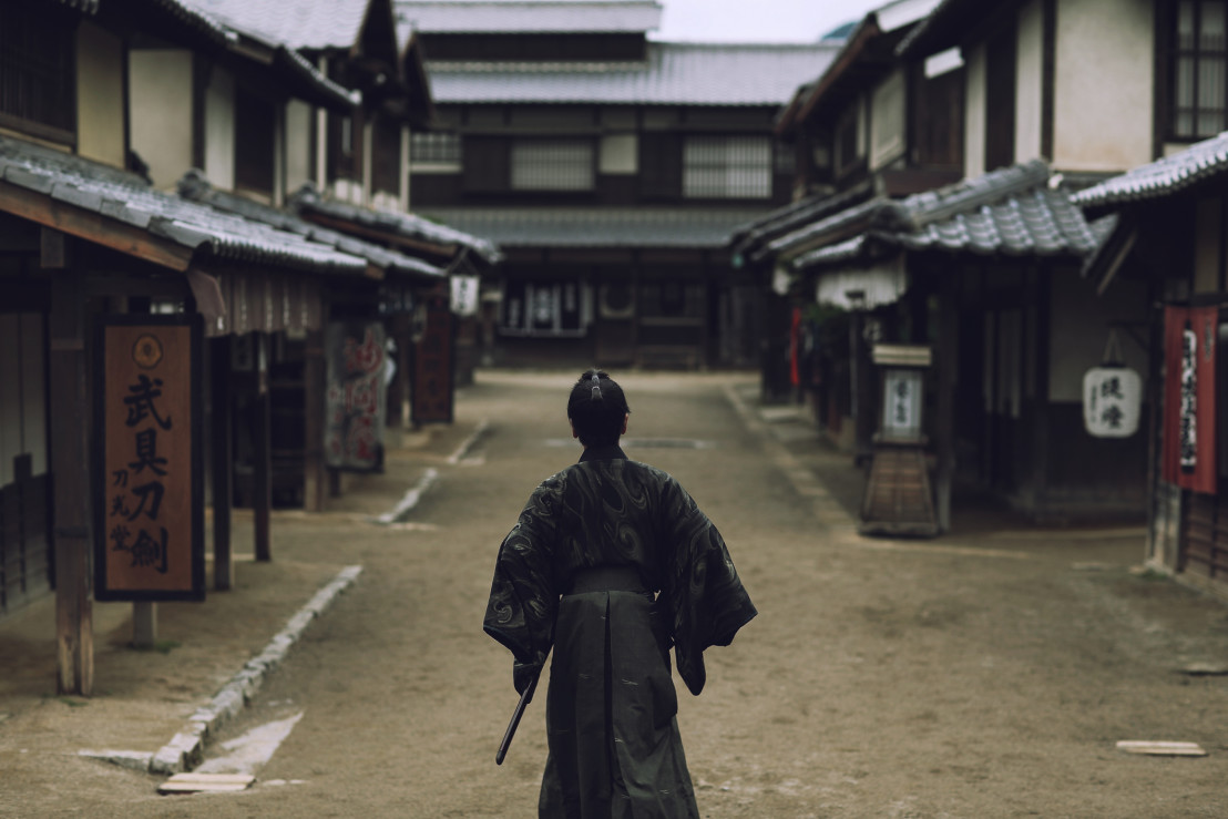 Samurai in Japanese village